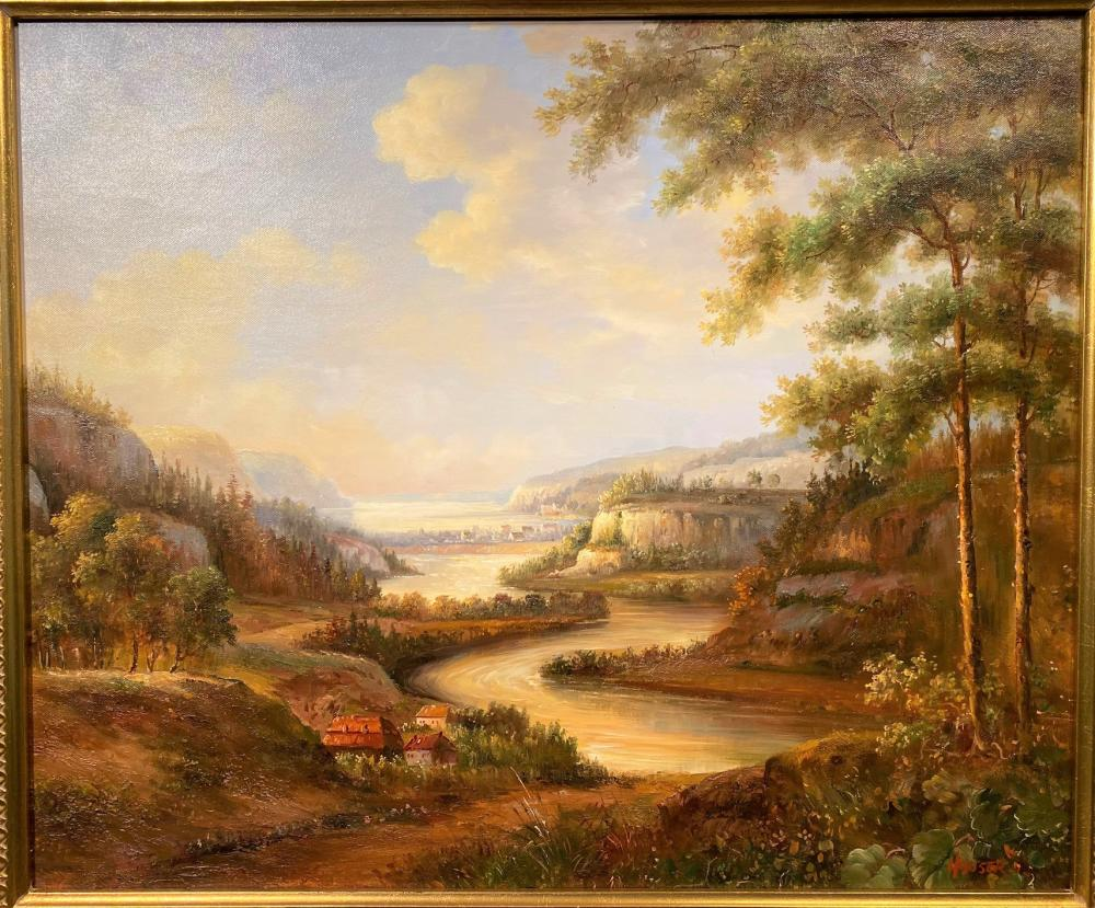 HOUSER ORIGINAL OIL ON CANVAS LANDSCAPE PAINTING - 29 IN x 33 IN