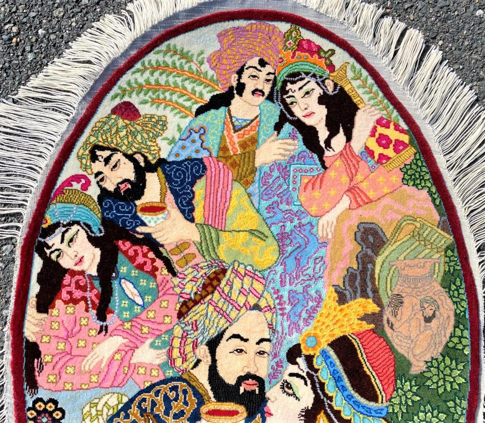 PERSIAN OMAR KHAYAM PICTORIAL, SIGNED SILK AND COTTON HAND KNOTTED OVAL RUG WITH 400+ KPSI - 2.3 x 3.2