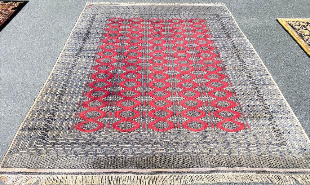 SIGNED BUKHARA HAND KNOTTED RUG - 9.4 x 12.7