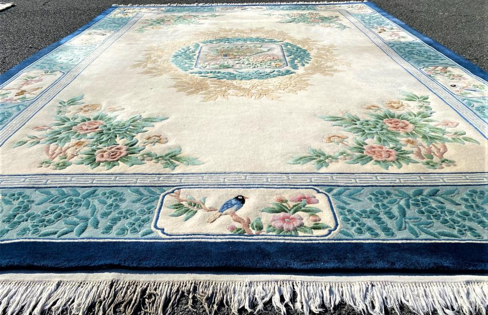 ASIAN PICTORIAL HAND KNOTTED 90 LINE AUBUSSON RUG - 9.1 x 12.2