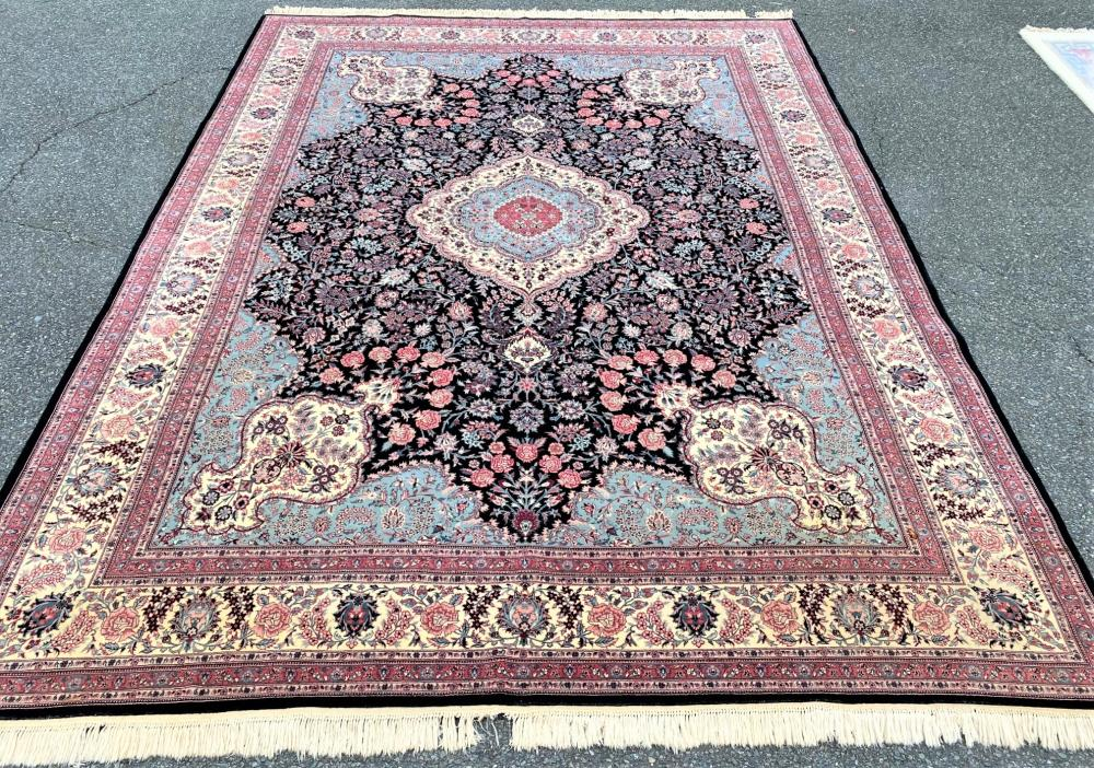 PERSIAN TABRIZ HAND KNOTTED RUG WITH 250+ KPSI - 9.0 x 12.1