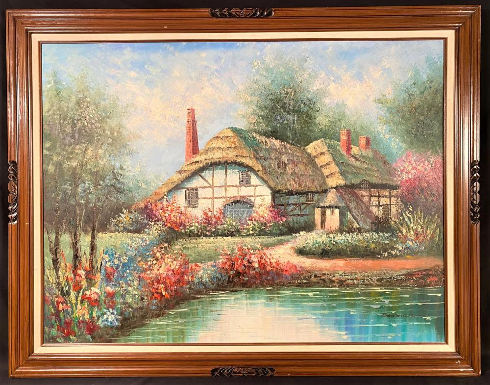 JOHN BOWMAN (1953-NOW) ORIGINAL OIL ON CANVAS OF COTTAGE LANDSCAPE - FRAMED MEASURING 43 IN x 55 IN