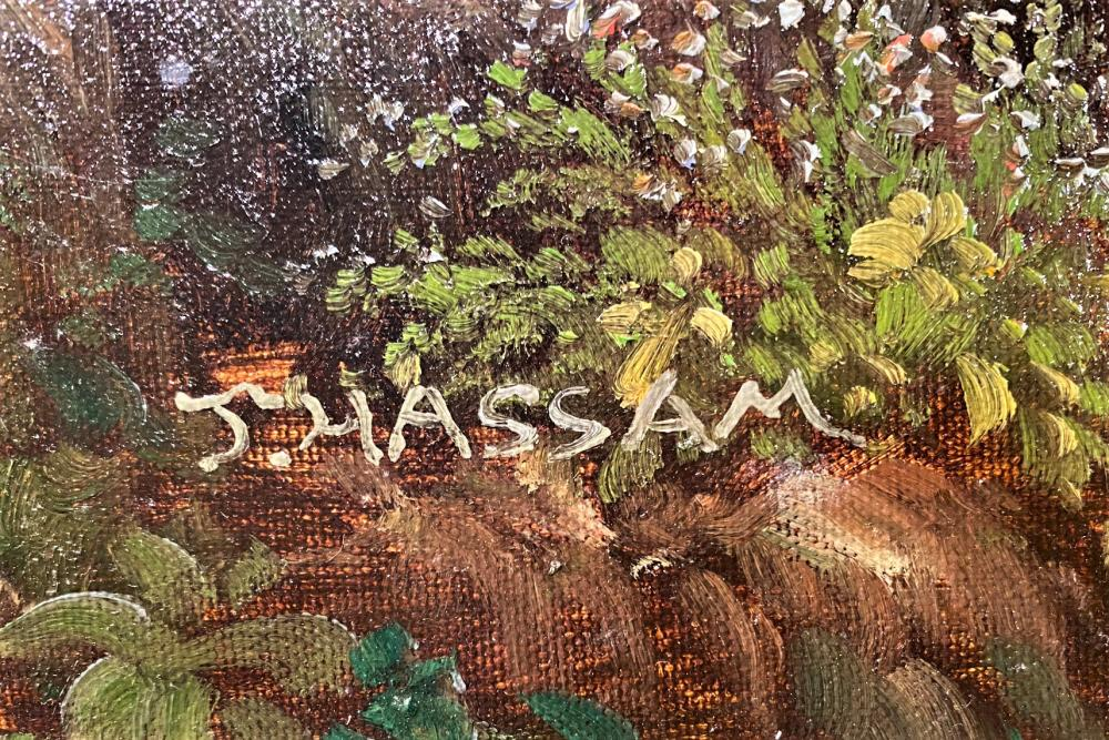 J. HASSAM ORIGINAL OIL ON CANVAS MEASURES 32IN x 44IN