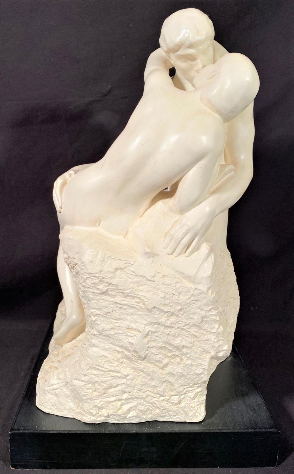 """SERGEY EYLANBEKOV (1960-NOW) PLASTER SCULPTURE """"THE KISS"""" RODINS 1889 SCULPTURE, DATED 1991. MEASURES 11 IN x 11 IN x 19 IN"""