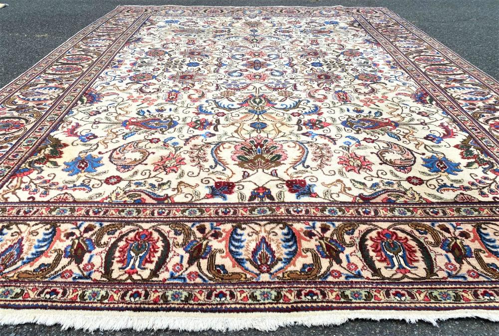 ANTIQUE PERSIAN TABRIZ HAND KNOTTED RUG - 9.9 x 12.10