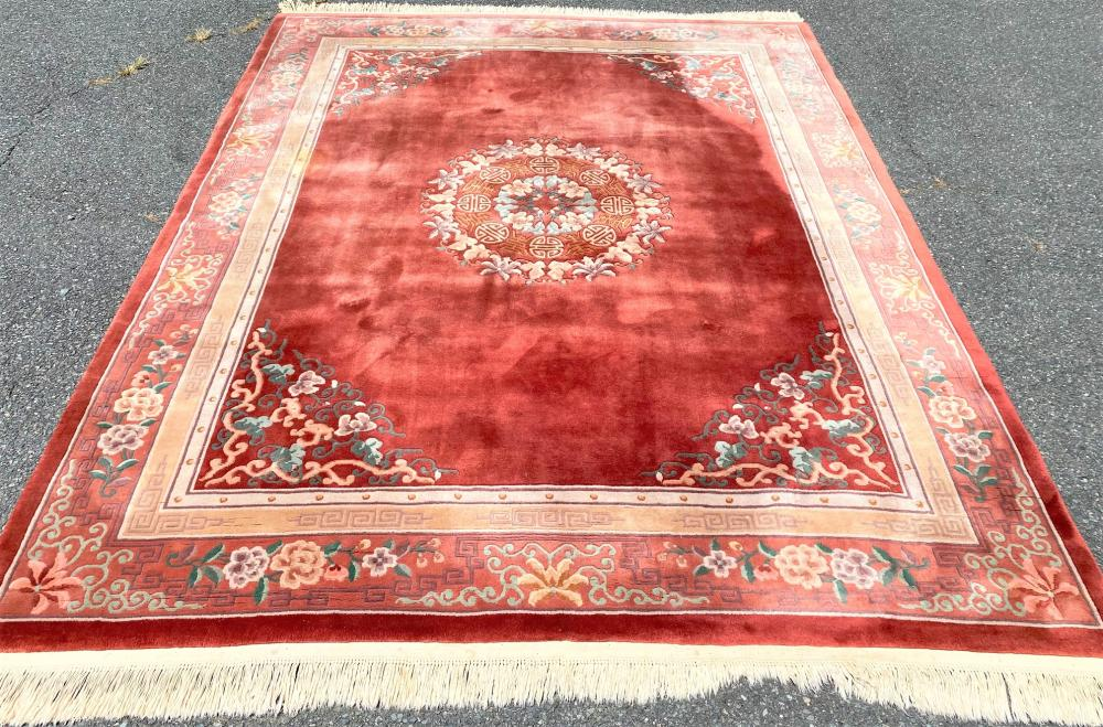 ASIAN MOTIF HAND KNOTTED AUBUSSON RUG - 8.0 x 10.0