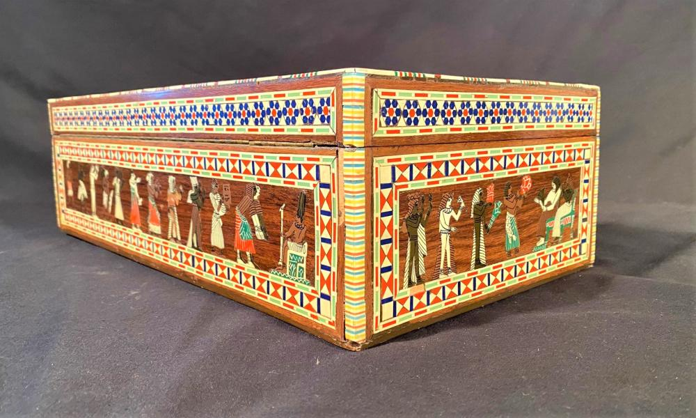 MOTHER OF PEARL INLAID PICTORIAL WOODEN BOX