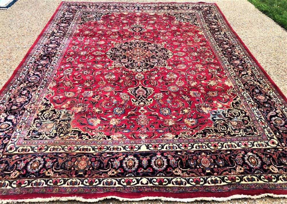 PERSIAN ISFAHAN HAND KNOTTED RUG - 9.5 x 12.3