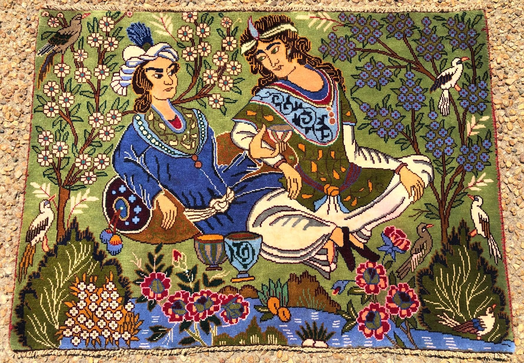 PERSIAN ANTIQUE OMAR KHAYAM PICTORIAL RUG - 2.5 x 3.10