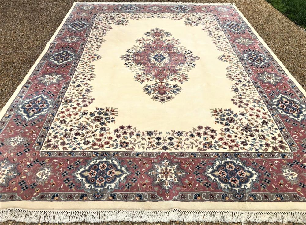 PERSIAN KERMAN HAND KNOTTED RUG - 9.0 x 12.3