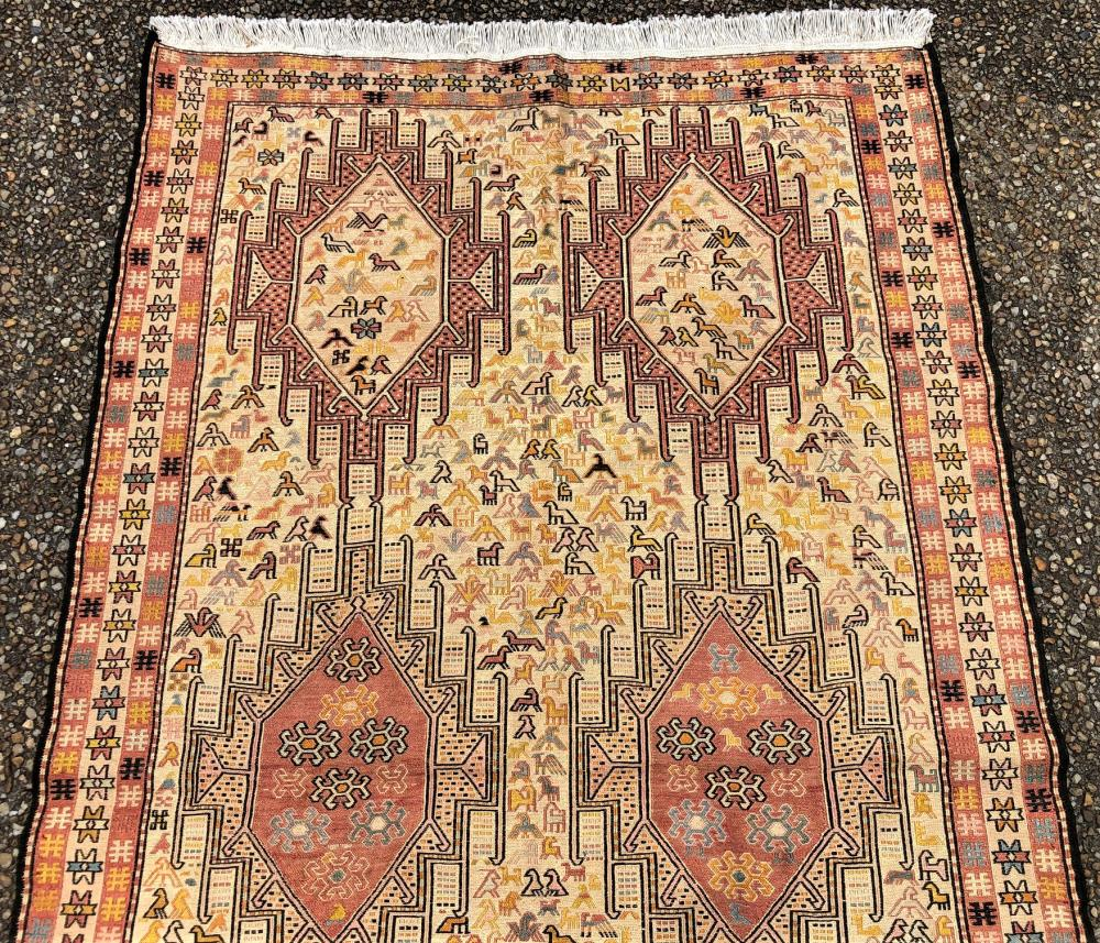 TRIBAL TURKEMAN KILIM SILK AND WOOL HAND KNOTTED RUG - 3.11 x 6.9