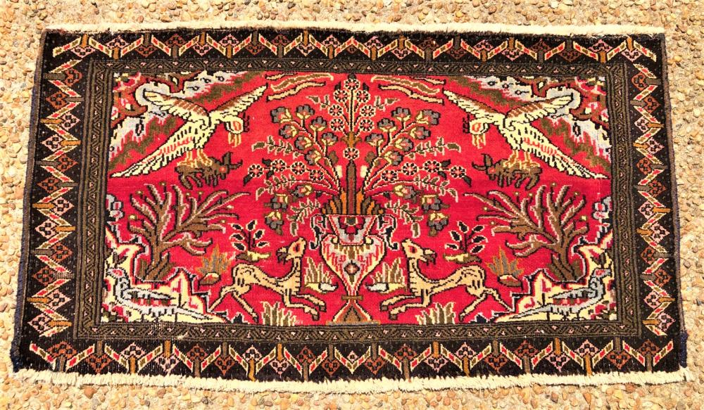 ANTIQUE PERSIAN QUM TREE OF LIFE PICTORIAL HAND KNOTTED RUG - 1.10 x 3.4