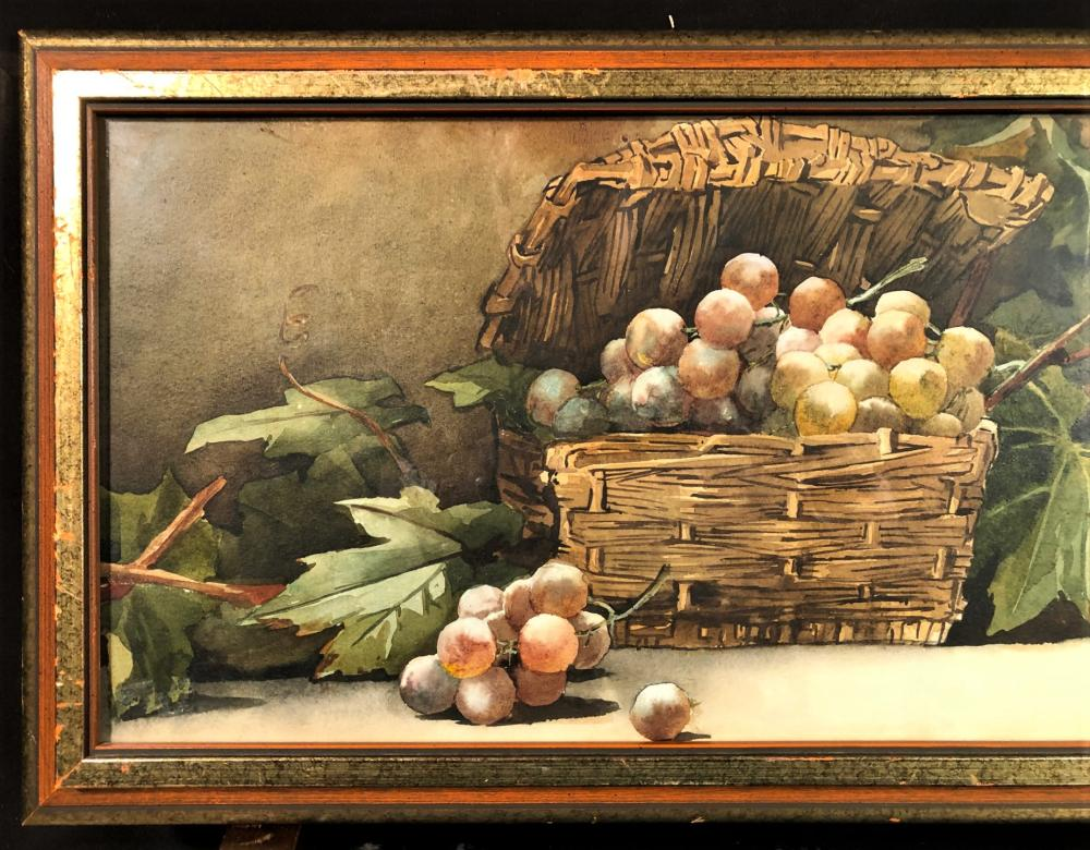 GIOVANNI BARBARO (1864-1915) ORIGINAL WATERCOLOR STILL LIFE WITH FRUIT SIGNED, FRAMED AND BEHIND GLASS MEASURES 13.5in x 32.5in
