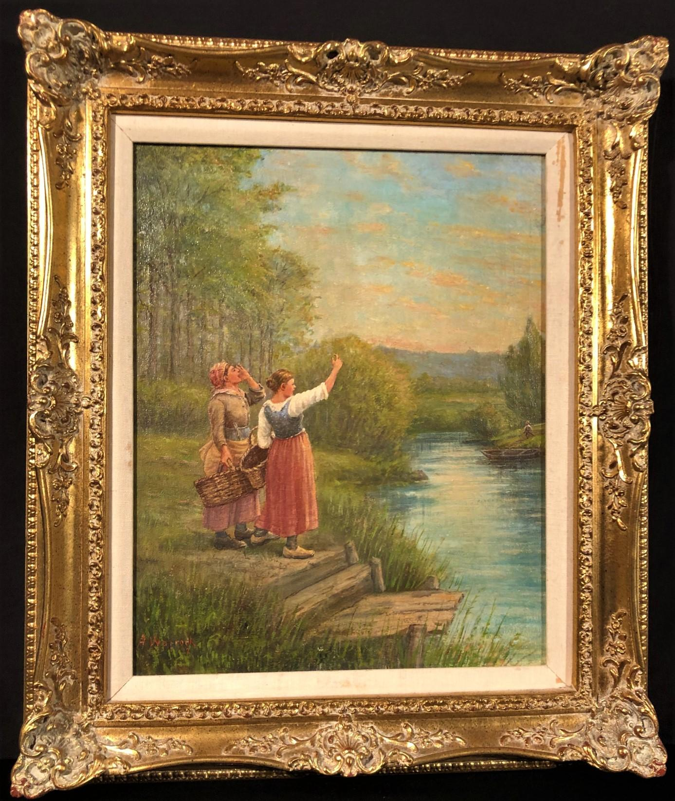 A. WARROCK ORIGINAL OIL ON CANVAS OF 2 LADIES BY A LAKE MEASURING 23 IN x 27 IN