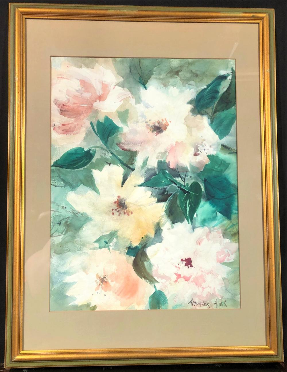 CATHERINE THARP ALTVATER (1907-1984) ORIGINAL WATERCOLOR TITLED SPRING FANTASY, MATTED, FRAMED AND MEASURING 33in x 24.5in x 1in