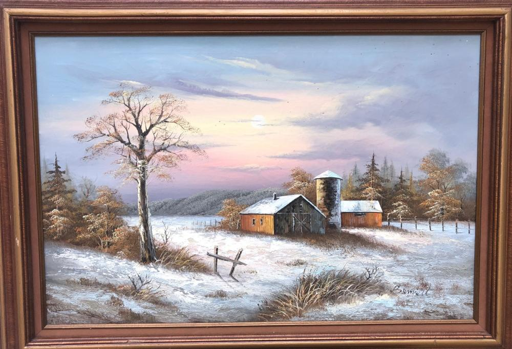 LINDA HIGDON BENNETT ORIGINAL OIL ON CANVAS OF BARN AND SILO, FRAMED MEASURING 32in x 45in