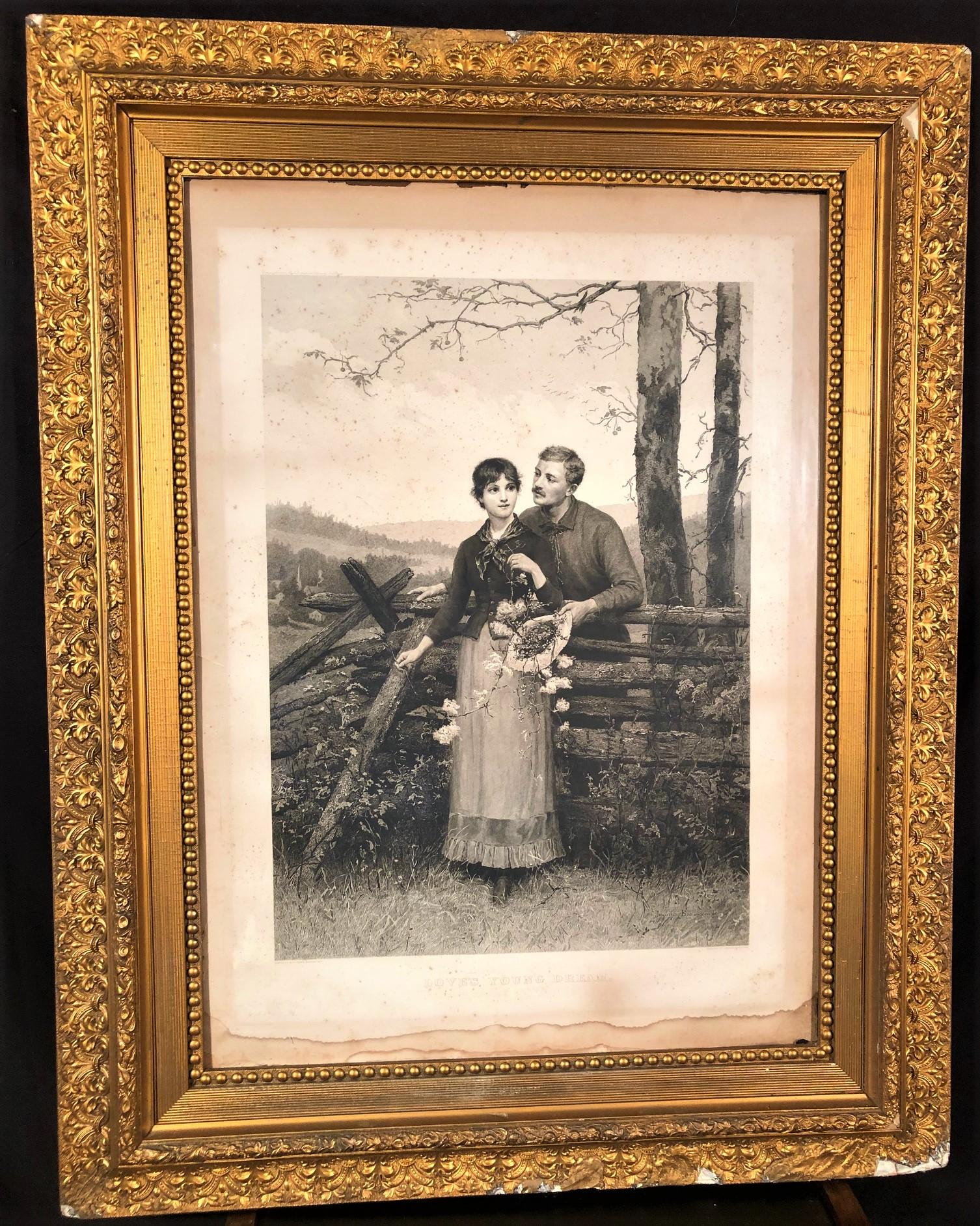 JENNIE AUGUSTA BROWNESCOMBE (1850-1936) FRAMED ENGRAVING TITLED LOVES YOUNG DREAM, COPYRIGHT 1886 IN LARGE ANTIQUE GOLD GILT FRAME MEASURING 47in x 37in