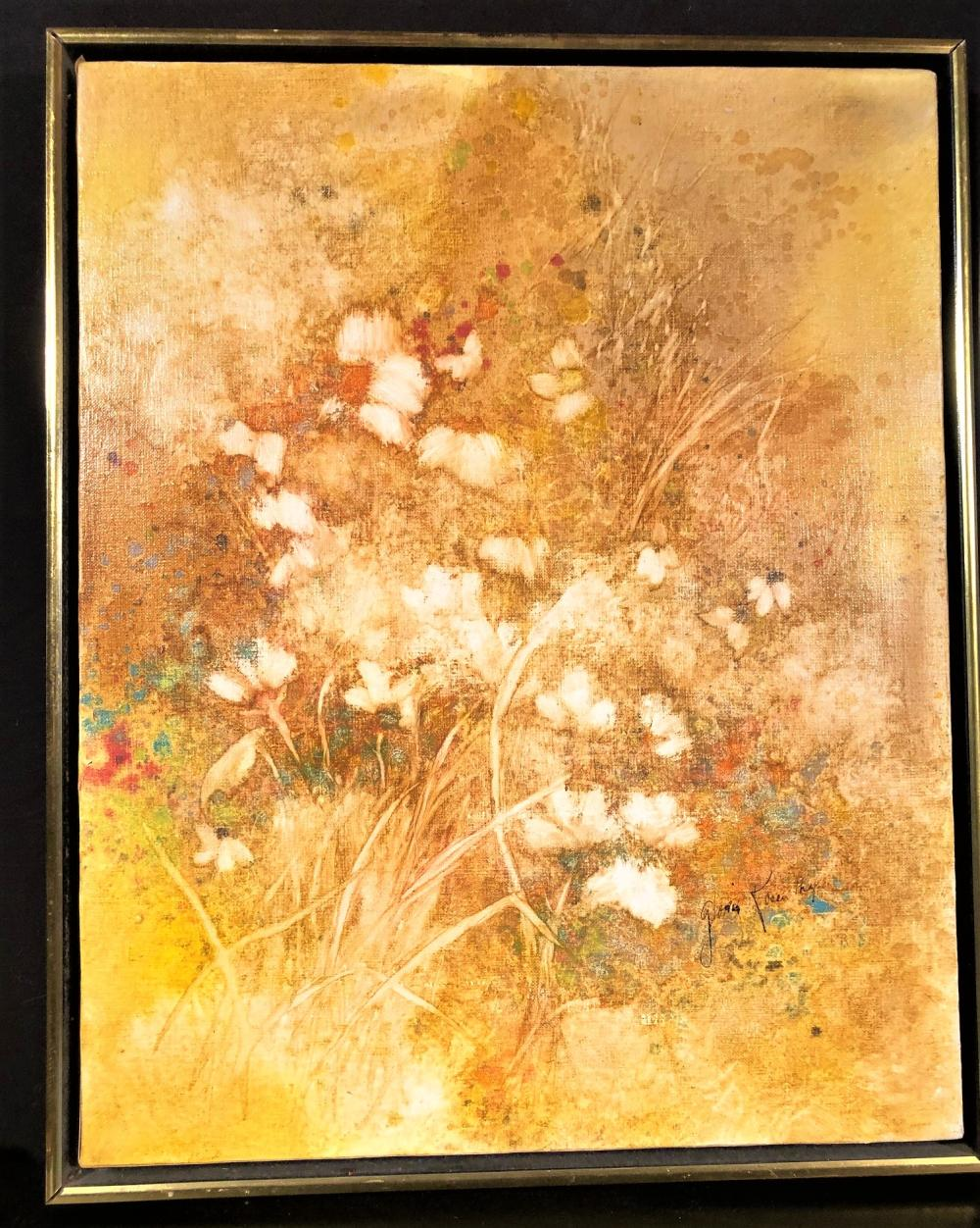 GLORIA ROSENTHAL ORIGINAL OIL PAINTING OF STILL LIFE OF FLOWERS, SIGNED ON FRONT AND REVERSE, FRAMED MEASURES 21.5in x 17.5in