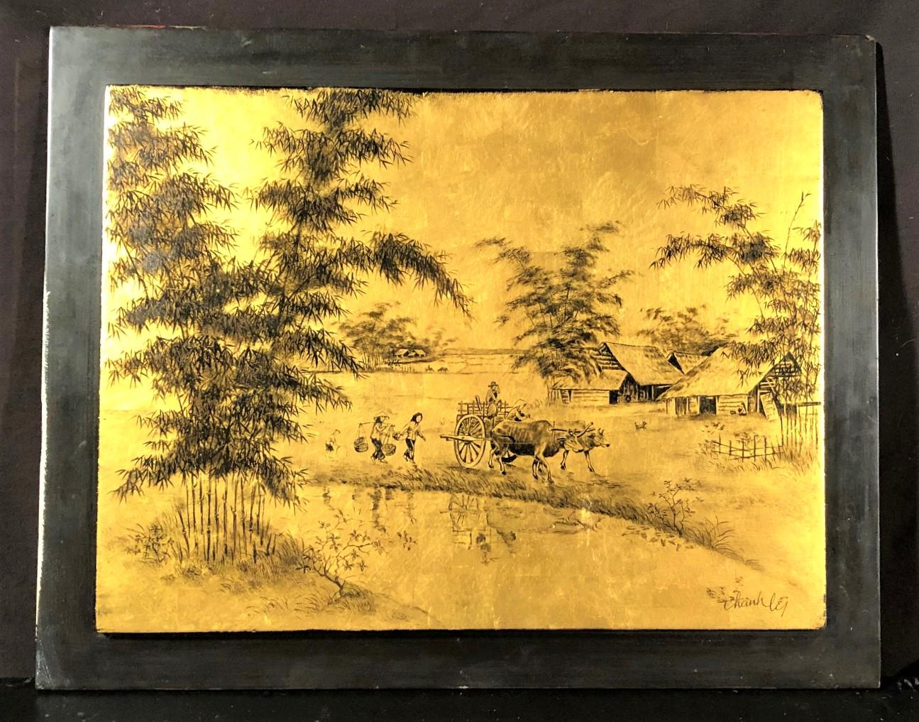 THANH LE CONG (1931-NOW) ORIGINAL LACQUER ON PANEL PAINTING MEASURES 15in x 19in
