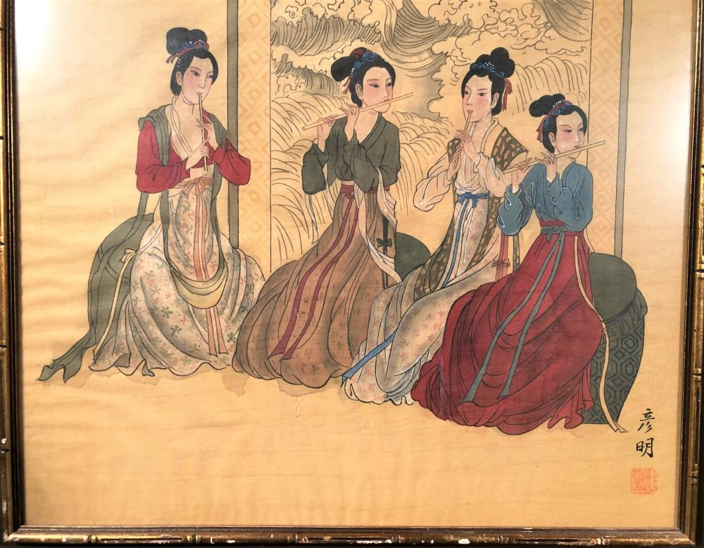 JAPANESE PAINTING ON SILK OF 4 WOMEN PLAYING FLUTES - 31in x 32in