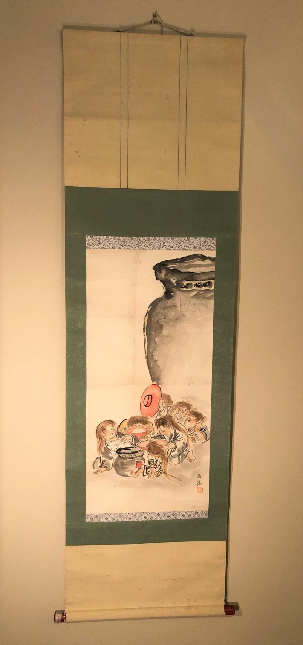 JAPANESE SCROLL PAINTING OF SHOJO - 19in x 64in