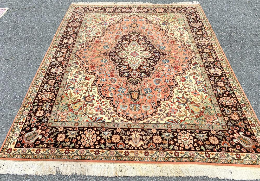 SIGNED ISFAHAN HAND KNOTTED RUG - 7.10 x 9.10