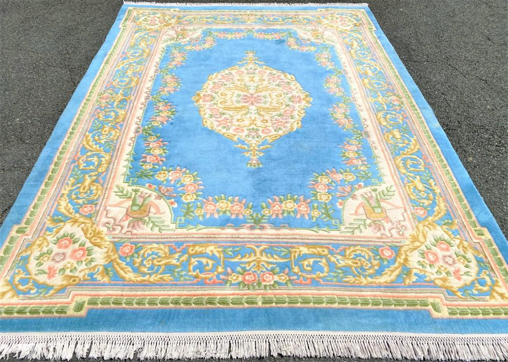 ASIAN HAND KNOTTED AUBUSSON RUG - 9.0 x 12.4