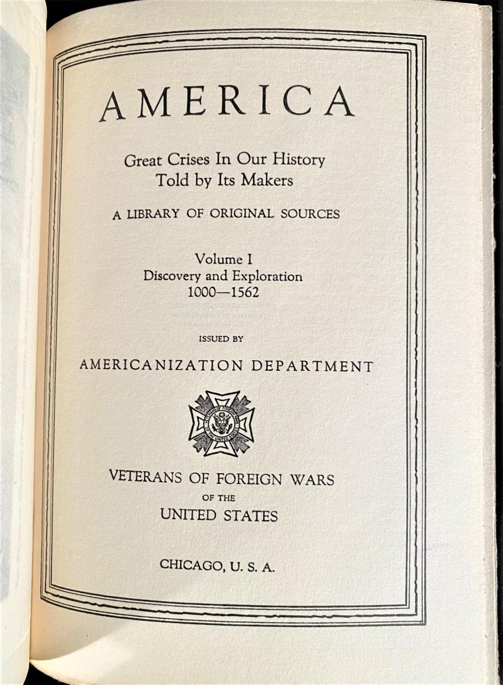 AMERICA: GREAT CRISES IN OUR HISTORY - 12 VOLUMES - 1925