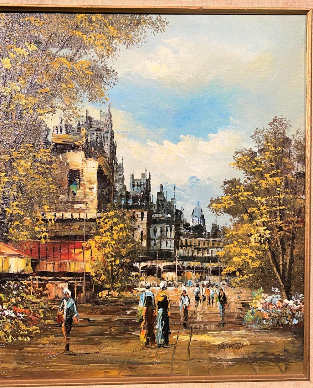JOSEPH OLIVERI (1940-NOW) ORIGINAL OIL ON CANVAS CITYSCAPE PAINTING - 20 IN x 24 IN