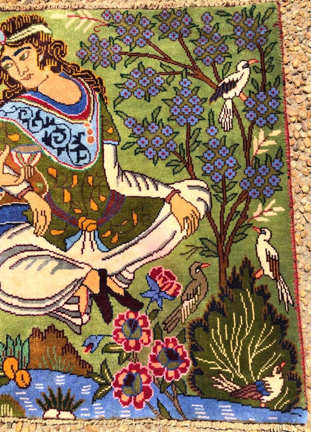 PERSIAN ANTIQUE OMAR KHAYAM PICTORIAL RUG - 2.5 x 3.10
