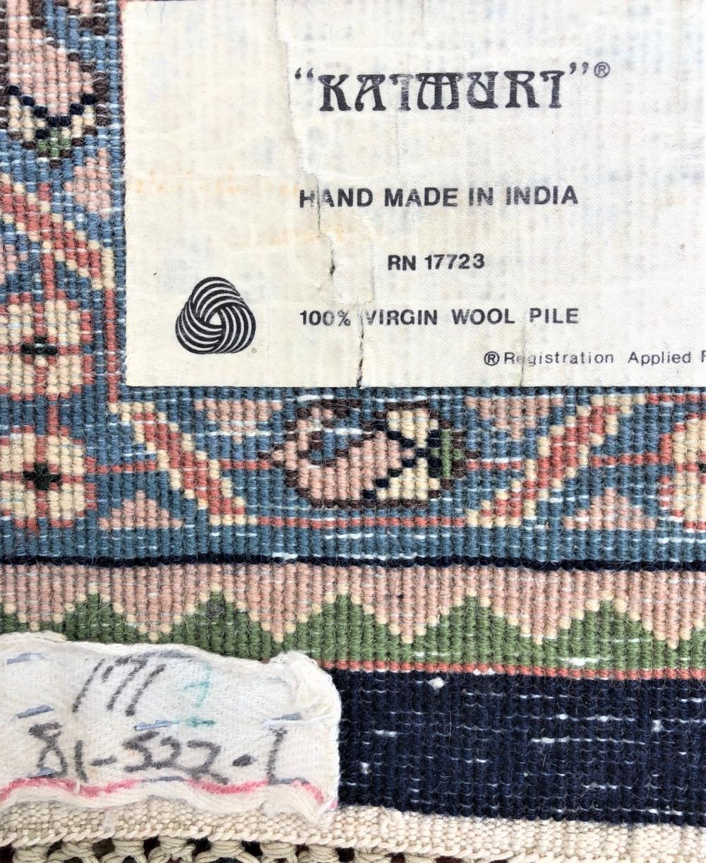 INDIAN SIGNED KATMURT LILIHAN DESIGN HAND KNOTTED RUG - 8.2 x 9.10