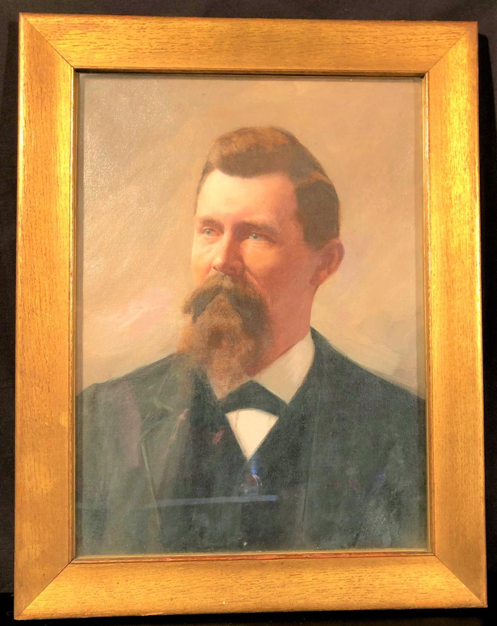 GEORGE M. REEVS (1864-1930) OIL PORTRAIT OF GENTLEMAN FRAMED AND UNDER GLASS MEASURING 22 IN x 17 IN