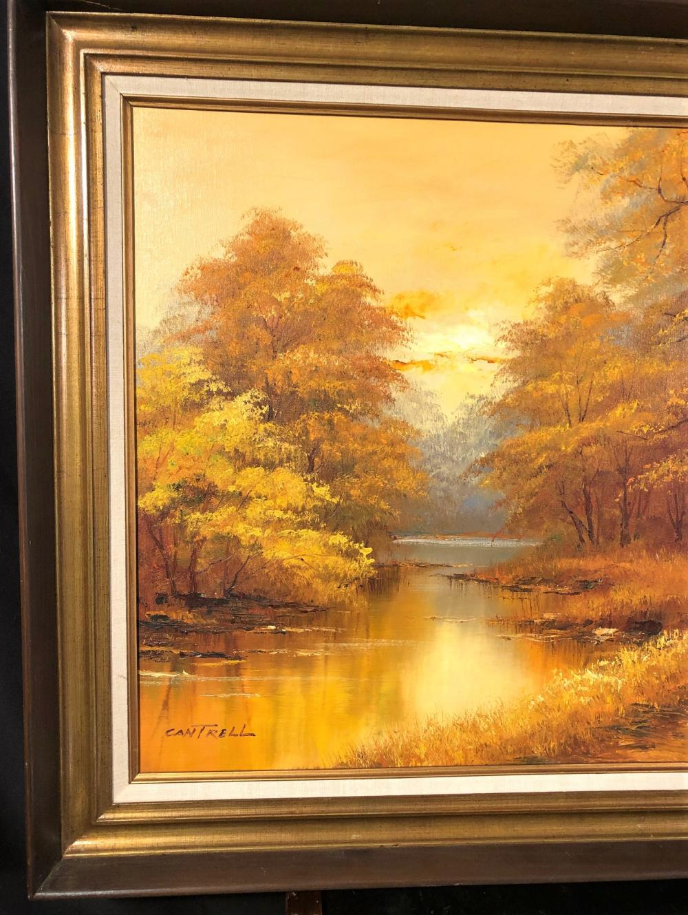 PHILIP CANTRELL (1922-Now) – ORIGINAL OIL ON CANVAS LANDSCAPE FRAMED PAINTING- 31in x 42in