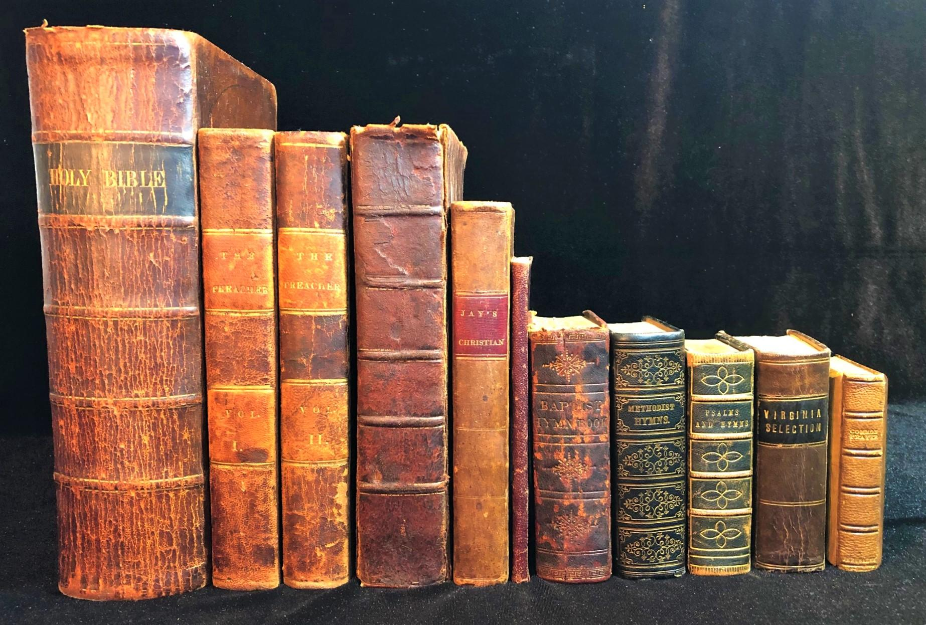 LEATHERBOUND CHRISTIAN RELIGIOUS BOOKS FROM THE 1800s, 11 VOLUMES