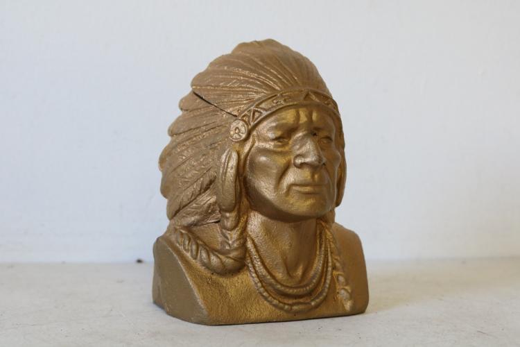 Vintage Cast Iron Indian Head Bank