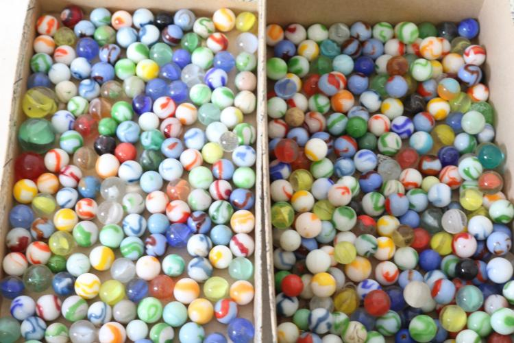 Box lot of vintage marbles