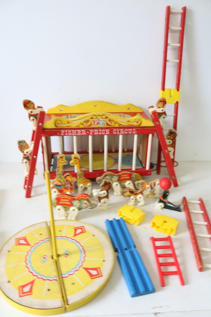 Vintage Fisher Price Circus Wagon with animals and accessories