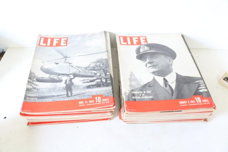 Lot of 39 Vintage Life Magazines mostly 1943