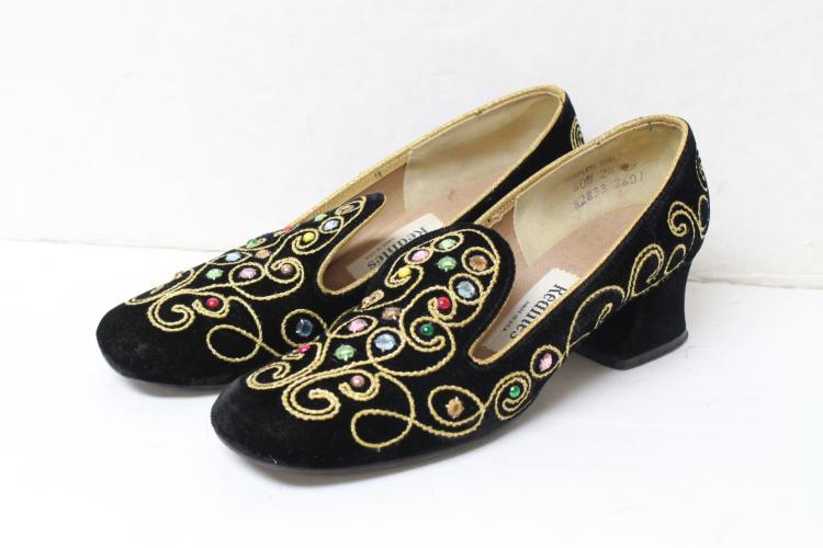 Vintage 1990s Jeweled Velvet Loafers
