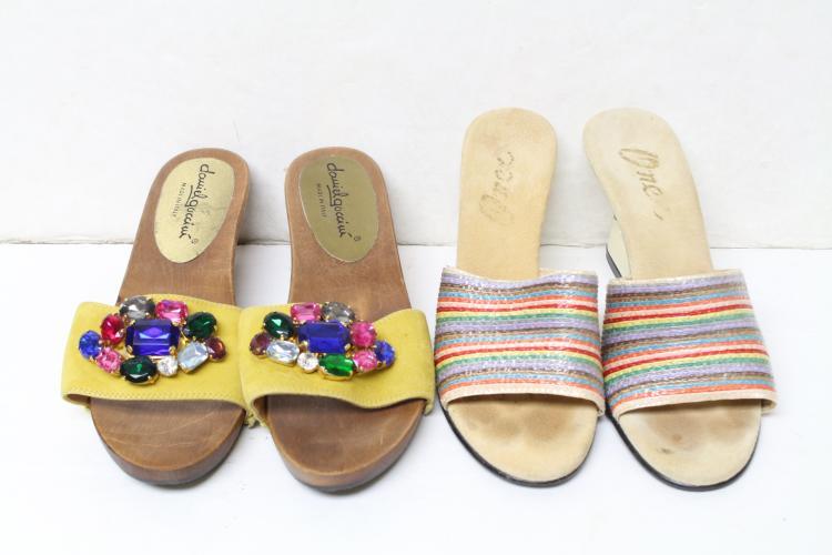 Vintage Lot of 1980s Colorful Sandals