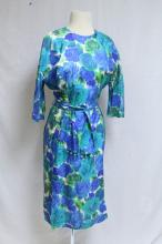 Vintage 1960s Blue & Green Rose Print Silk Dress