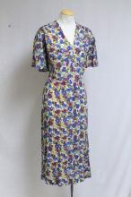 Vintage 1930's Floral Print Rayon Dress