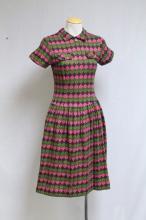 Vintage 1960s Green & Pink Argyle Knit Dress