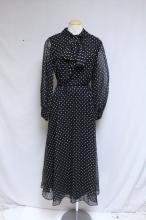 Vintage 1970s Black & White Polka Dot Dress
