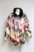 Vintage 1980s Surrealist Print Silk Fur Lined Jacket