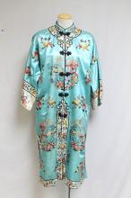 Vintage 1960s Chinese Aqua Silk Embroidered Robe