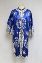 Vintage 1960s Chinese Blue Silk Embroidered Robe