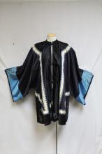 Antique Chinese Black Silk Embroidered Kimono