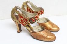 Vintage 1930s Red & Gold Shoes