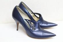 Vintage 1950's Blue Spike High Heels